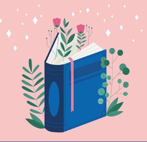 Grafika w postaci książki i roślin